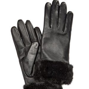 Charter Club Faux Fur Cuff Leather Tech Gloves